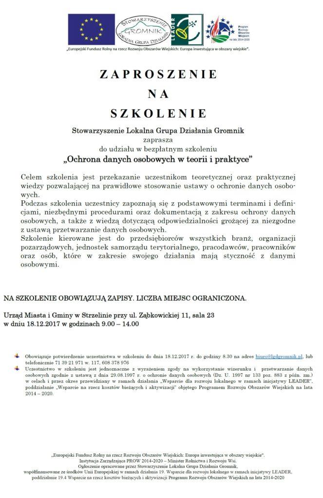 """362436792e4feb Szkolenie """"Ochrona danych osobowych w teorii i praktyce"""" – LGD Gromnik"""